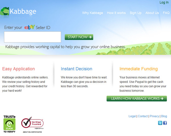 Kabbage.com home page.