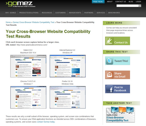 Gomez.com Cross-Browser Test results.