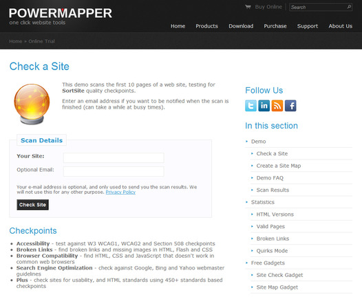 PowerMapper.com SortSite test page.