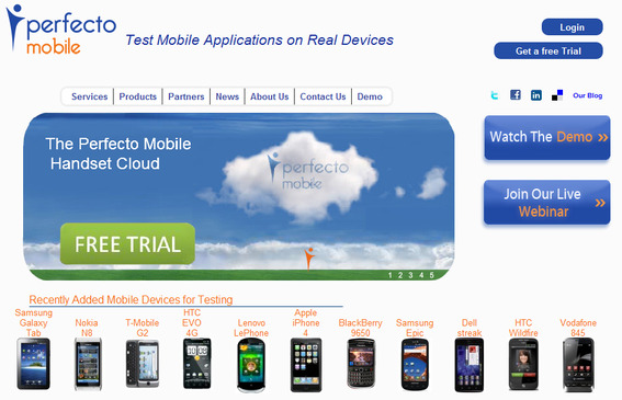 PerfectoMobile.com home page.