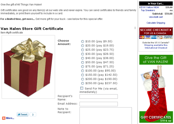Gift certificate offer, from VanHalenStore.com.