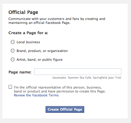 Choose 'Official Page' as the option when setting up a Facebook Page.
