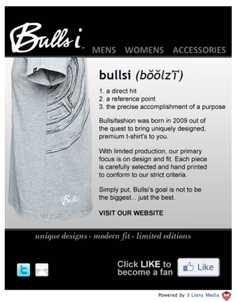 Bullsifashion Facebook 'Welcome' Page.