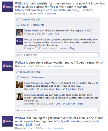 Well.ca Facebook Page posts.