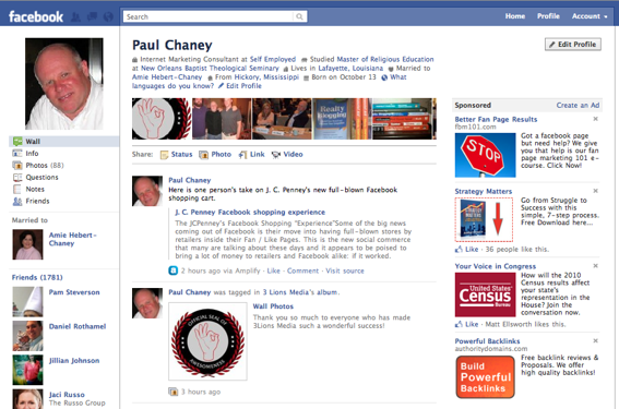 New Facebook Profile layout integrates ads.