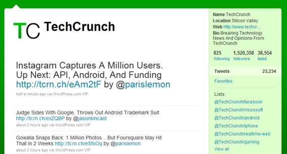 TechCrunch.com tweet.