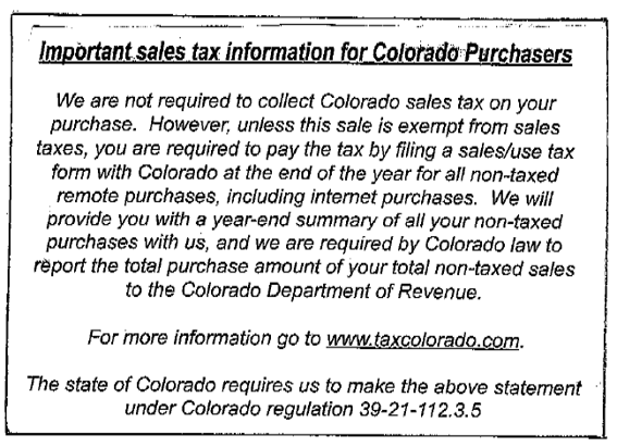 Scan of postcard, enclosed in a shipment from an ecommerce merchant, to a Colorado resident.
