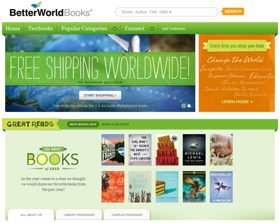 BetterWorldBooks.com home page.