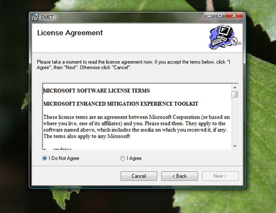 EMET asks you to affirm its software license agreement.