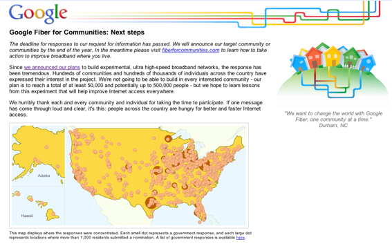 Home page, Google's Fiber Project.
