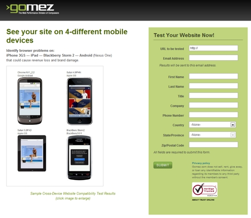 Gomez.com cross-device mobile browser test page.