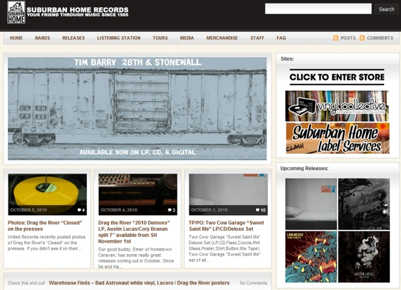 Suburban Home Records home page.