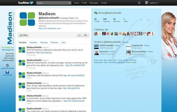 Example 1: Twitter background for MadisonHealth.