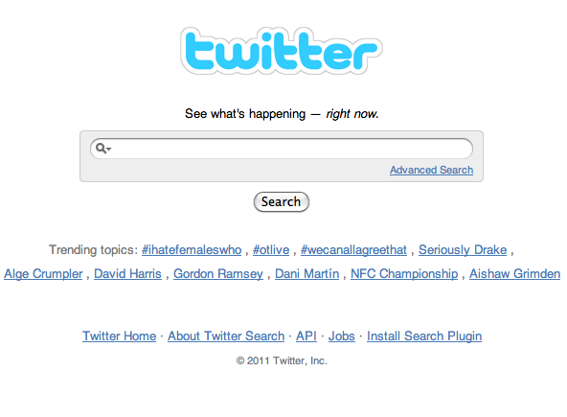 Find followers using Twitter search.