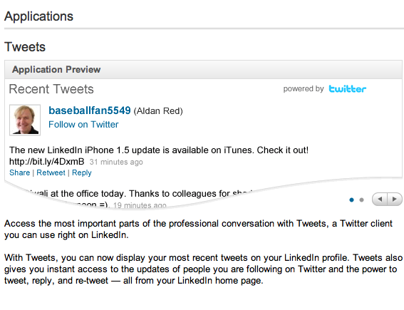 LinkedIn Twitter application.