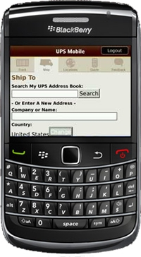 UPS Mobile on BlackBerry.
