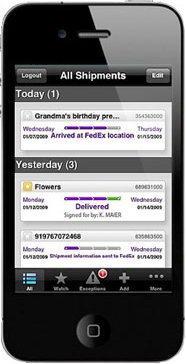 FedEx Mobile on iPhone.