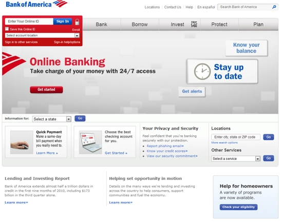 Bank of America home page.