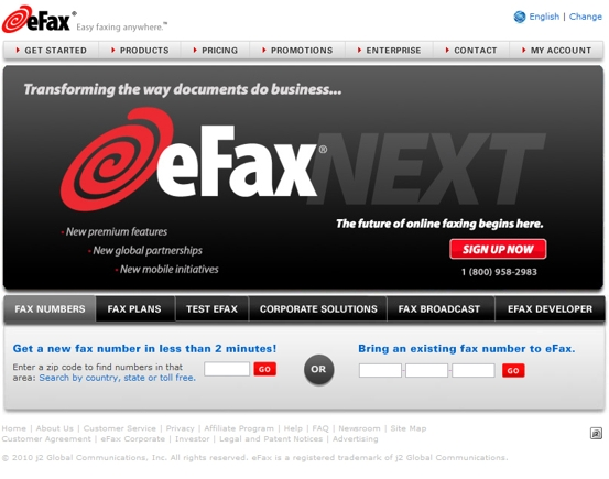 eFax home page.