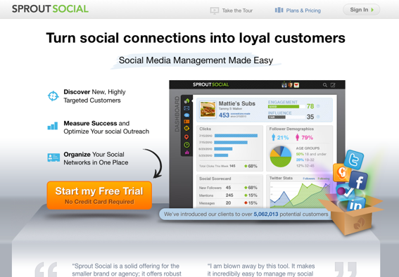 Sprout Social sells social media marketing management tools as a subscription.