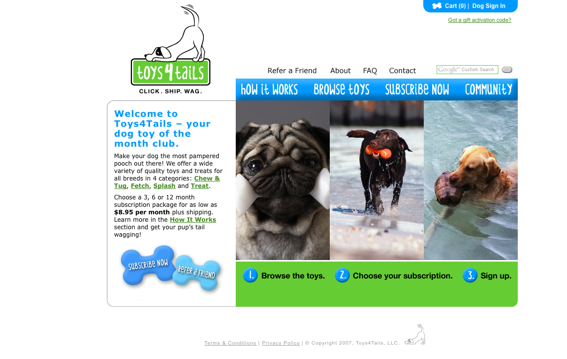 Toys4Tails provides dog toys by subscription.