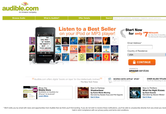 Audible.com sells downloadable audio books by subscription.