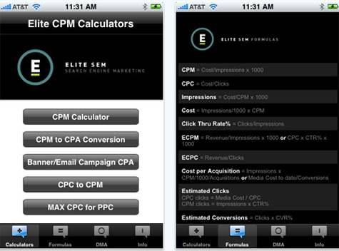 Elite SEM Calculator app.