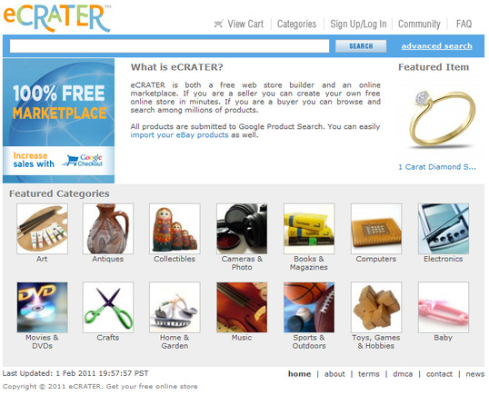 eCrater.com home page.
