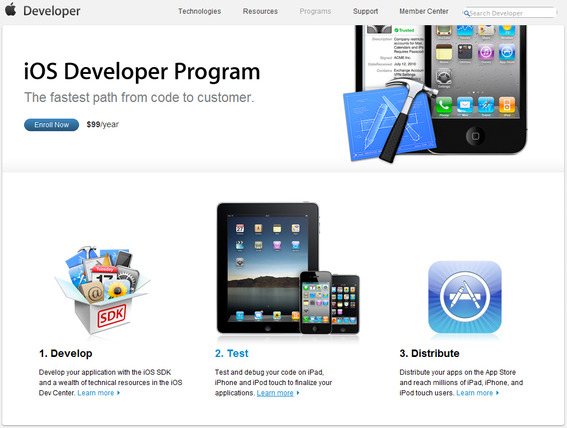 Apple iOS Developer Project home page.