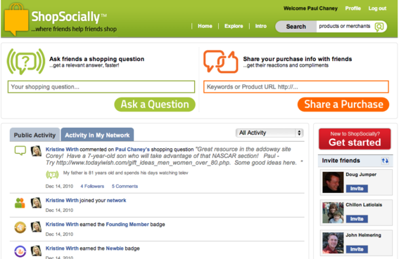ShopSocial.ly is a shopping recommendation engine.