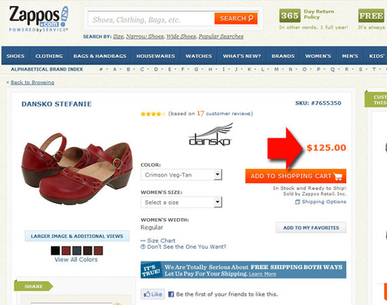Zappos sells the Dansko Stefanie for $125.