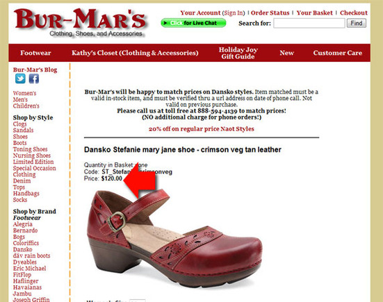 Bur-Mar's sells the Dansko Stefanie for $120.
