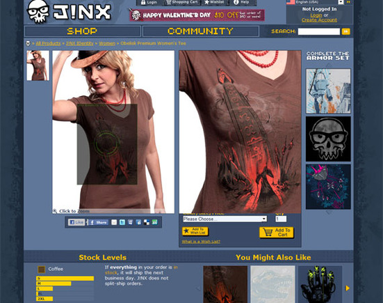 Jinx uses large, zoomable images to show off its products.