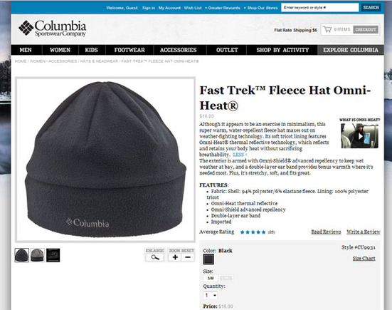 Columbia Sportswear Company is willing to invest in product descriptions.