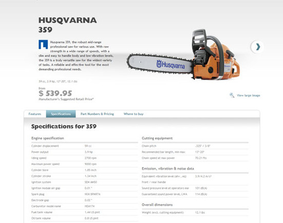 Husqvarna goes out of its way to provide detailed product descriptions.
