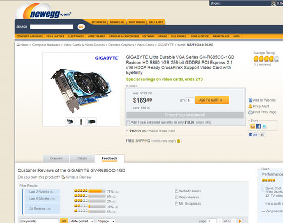 Newegg does a good job of promoting customer created product reviews.