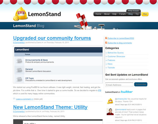 LemonStand's blog serves as the center of the company's marketing and customer interaction.