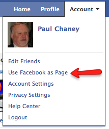 Facebook Account drop-down menu.