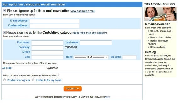Screenshot of Crutchfield's email sign-up form.