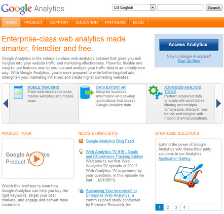 Google Analytics home page.