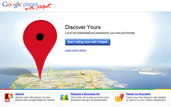 Google Places home page.