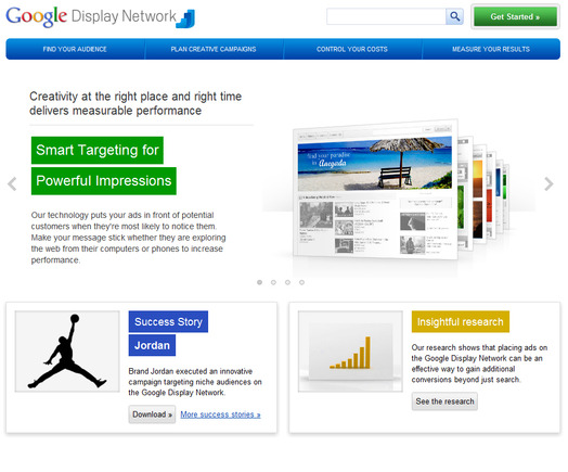 Google Display Network home page.
