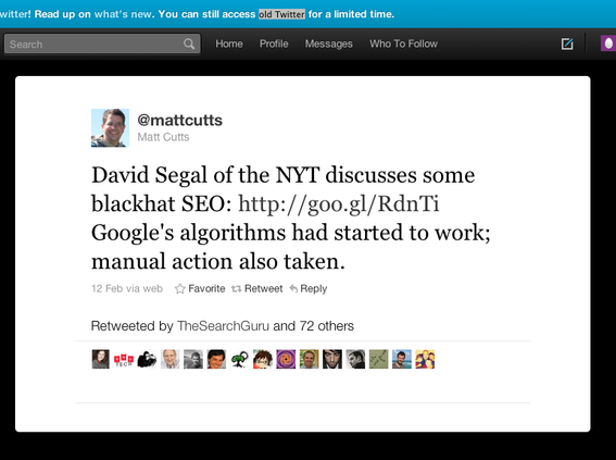 Twitter post from Google's Matt Cutts.