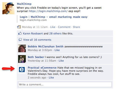 Practical eCommerce — not Paul Chaney — interaction on MailChimp's Facebook page.