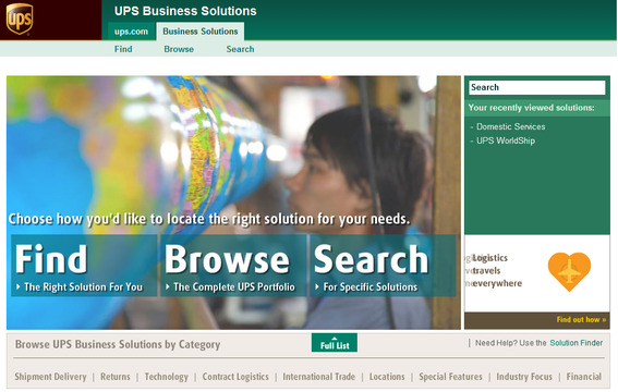 UPS Business Solutions home page.