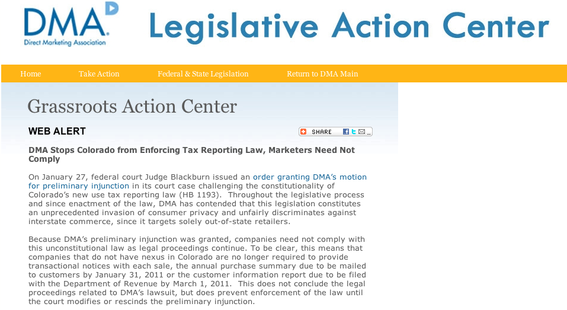 "DMA's ""Legislative Action Center"" blog."