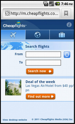 Cheapflights home page on on a smart phone.