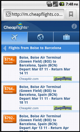 Cheapflights search results on a smart phone.