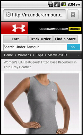 Under Armour product page on a smart phone.