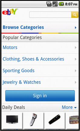 eBay home page on a smart phone.